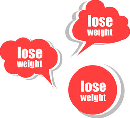 lose weight word on modern banner design template. set