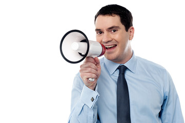 Middle aged man with megaphone