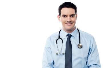 Smiling physician isolated over white