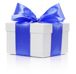 White box with Blue satin ribbon and bow on the white background