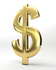 Dollaro dorato isolato su bianco