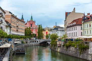 View of the city center of Ljubljana, Slovenia