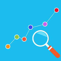 Market analysts, growth chart. Vector illustration.
