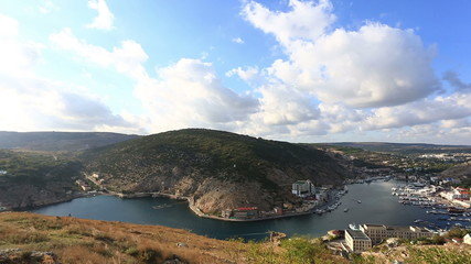View from mountain to Balaklava Bay , Crimea, panning