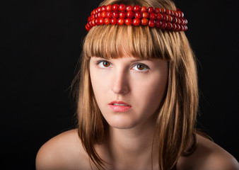close-up portrait of beautiful girl in chaplet