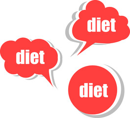 diet. Set of stickers, labels, tags. infographics