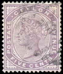 Stamp printed by CEYLON, shows Queen Victoria