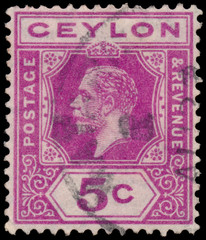 Stamp printed in CEYLON shows image of the George V