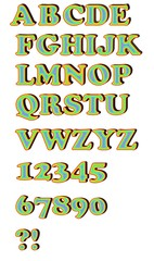 Uppercase alphabet set in rainbow colors