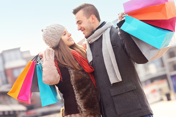 Couple on winter shopping