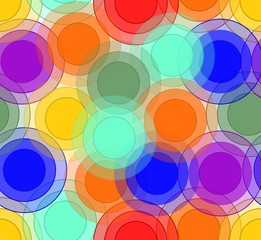 Cheerful background with overlapping circles in rainbow colors