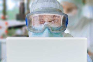 Ebola Virus Reflection on Protective Goggles