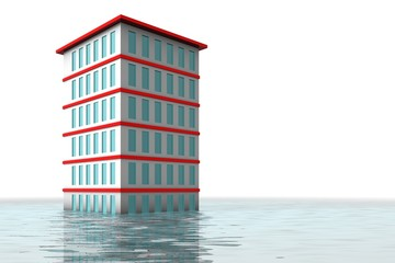 Apartment tower under water after rain storm