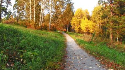 Girl running in the autumn park