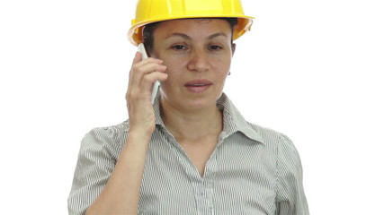 Woman Hardhat Phone For You Smile