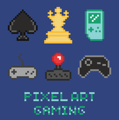 pixel art game design icon set - chess, gamepades, cards,