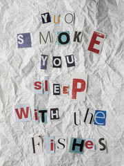 ransom note with anti smoking message