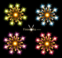 fireworks four color stars vector component