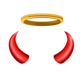 An angel's halo and devil's horns isolated for you design