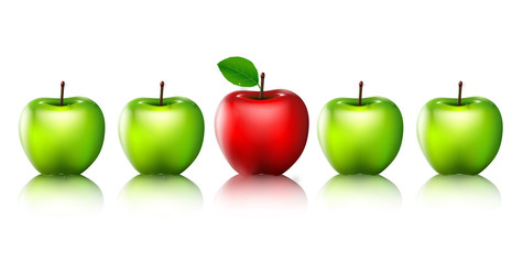 Ripe green apples and one red apple isolated for you design
