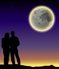 romantic couple silhouette with full moon background