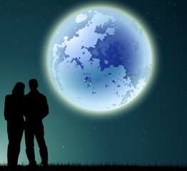 couple silhouette with full moon background