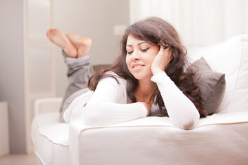 young woman relaxing and thinking