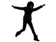 woman winter coat jumping happy silhouette