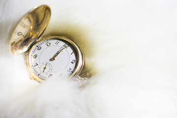 Old gold watch set on twelve o'clock midnight IN FUR
