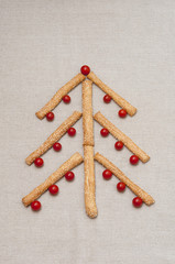 Christmas tree made of grissini