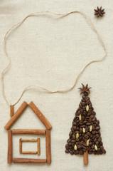 Christmas tree made of coffee and cinnamon