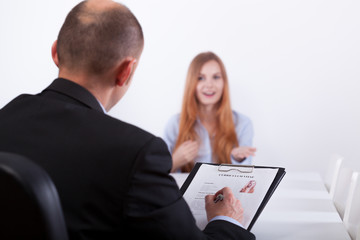 Woman and her interviewer
