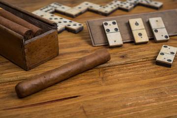 Cuban cigar on table