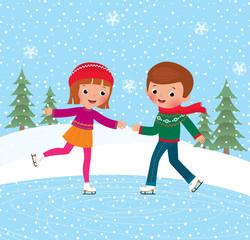 Children ice skate