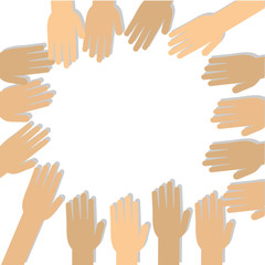 Many hands reaching towards one another