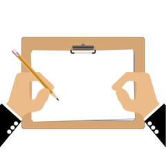 Hand of bussiness man with Clipboard