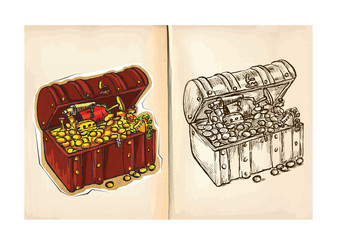 Children's coloring book - Treasure