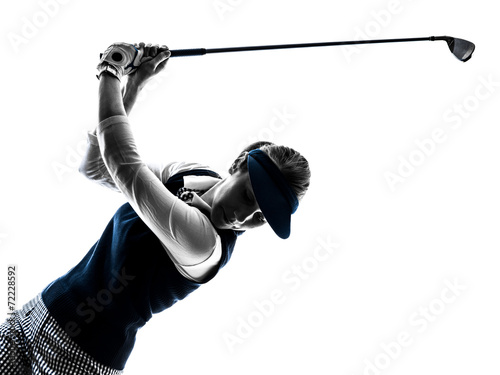 Leinwandbild Motiv woman golfer golfing silhouette