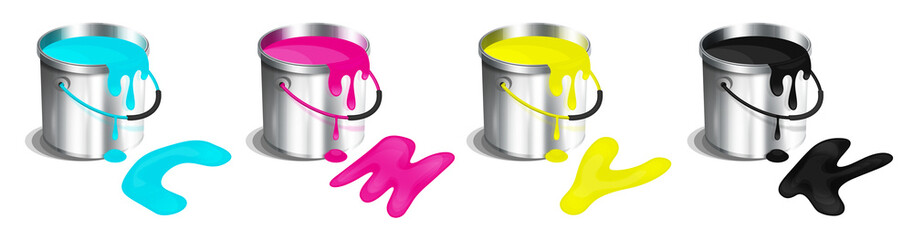Wiaderka farby - paleta kolorów CMYK