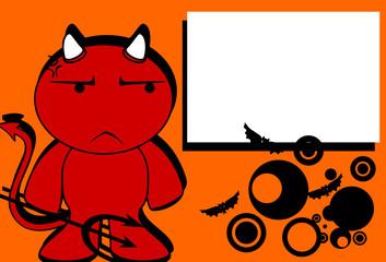 devil halloween cartoon background card2