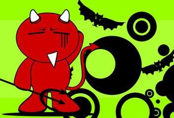 devil halloween cartoon background card9
