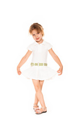 Little four year old girl happy. white background
