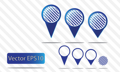 Map pin vector - blue stripes