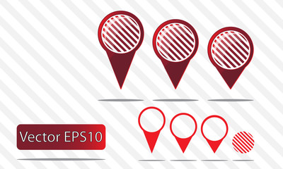 Map pin vector - red stripes