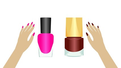 Realistic two nail polishes.