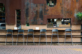 Fototapety Cafe chairs at vintage cafeteria