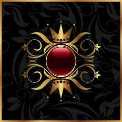 golden floral frame with crown