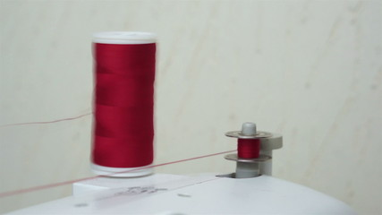 Winding Up a Sewing Bobbin With Thread