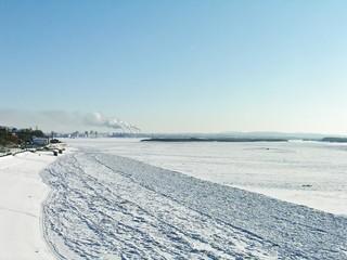 Winter City. Frozen River