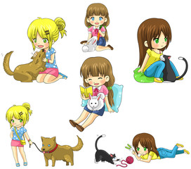 Cartoon girl with her pet icon collection set